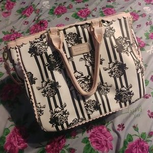 Betsey Johnson Striped Roses Tote Bag